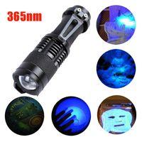 Zoomable مصغرة الألومنيوم أضواء المحمولة الأشعة فوق البنفسجية 365NM فيوليت جدا blacklight LED الشعلة ضوء مصباح F # 5N06 مشاعل مصباح
