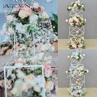 Decorative Flowers & Wreaths JAROWN Metal Frame Wedding Road Lead Stand Geometric Flower Shelf Set Party Props Background Stage Decoration
