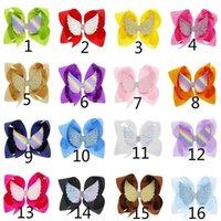 Toptan Bebek Kız Saç Klip Çocuk Melek Kanat Yay Tokalar Kız 6 Inç Klip 16 Renkler Bebek Aksesuarları HC146