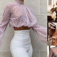 ITFABS женские блузки бренд слоеного рукава урожая верхние женщины видят через явную сетку танк Dot Print черепаха шеи рубашка блузка