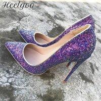 Robe chaussures heelgoo paillettes de paillettes violettes femmes pointe poinçonneuse heel heel mariage bridys bling dames femmes stiletto pompes