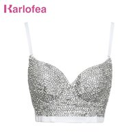 Karlofea Luxus Bühne Tragen Kernt Top BH Glitter Strass Diamanten Push Up Bustier Top Fashion New Club Party Celebrity Wear 210325