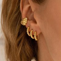 Hoop & Huggie 17mm Gold Vintage Spiral Tiny Twisted Earrings Minimalist Dainty Chic Hoops Gifts Brass For Woman