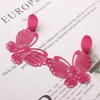 Dangle & Chandelier S925 Stud Earrings Female Explosion Style Fashion Hollow Metal Spray Paint Butterfly Paper-cut