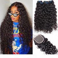 7A Malaysian Water Wave 3 Bundles with Closure Human Hair Bundles with Closures 4X4 Closure Non Remy Hair Weave Modern Show Hair Extensions