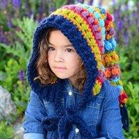 Beanies Kids Winter Hats Handmade Crochet Elf Beanie Hat Children Warm Knitted Rainbow False Collar Hooded Cap Boy Girl Xmas