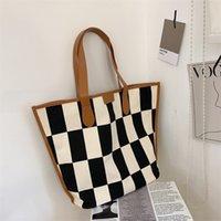 Checked Canvas Bag Large Capacity Handbags Women Tote Bag Cloth Shopper Letter Printing Handbag Ins
