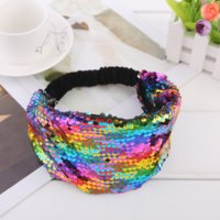 Fish Scale Sequin Paillette Headband Diy Hair Bands Wrap Headwrap Ribbon for Women Children Fashion Jewelry Will and Sandy black red blue