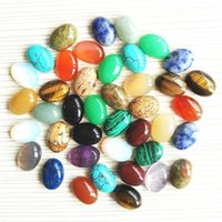 Other 5pcs Natural Semi Precious Stone Ring Face Oval Posted Piece Jewelry Making Handemade DIY Necklace Bracelet Accessories 8-15mm