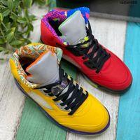 BOX 패션 브랜드 5 망 농구 신발 CZ5725-700 VARSITY 옥수수 유령 녹색 태양열 오렌지 5S 남자 스포츠 플레이어 스니커즈 7-13