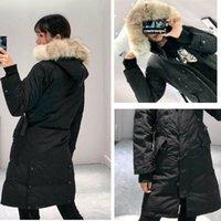 Зимние пуховики зимы с капюшоном натуральный волка меховой держатель женской куртки на молнии ветрозащитный и водонепроницаемый пальто теплые пальто женщины открытый Parka