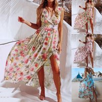 Casual Dresses 2021 Summer Boho Print Long Dress Fashion Women Evening Party Sundress Femme Sleeveless Loose Beach Vestidos
