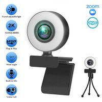 1080P 2K 4K HD Webcam USB Computer Web Camera Built-in Noise Reduction Mic &LED Fill Light Cam For Live Broadcast Video Calling