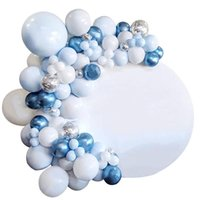 Pcs Macaron Latex Decorations Balloons Set Blue Silver Confetti Balloon For Baby Shower Birthday Wedding Party Decorative Flowers & Wreaths
