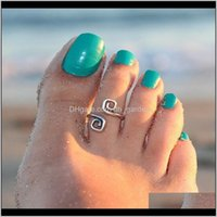 Jewelrytoe Rings Celebrity Women Vintage Simple Toe Ring Adjustable Foot Beach Fashion Show Retro Style Body Jewelry On Drop Delivery 2021 R