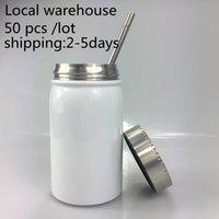 Warehouse local 17oz Suisse Tumblers Mason Jar Tasse à café Coupe thermique Tasse à la poussière portable Tumbler avec couvercle en métal Nouveau neuf arrive
