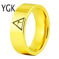 Wedding Rings YGK Brand JEWELRY 8MM Width 14th Degree MASONIC Gold Color Pipe Cut Tungsten Carbide Ring For Man And Woman's