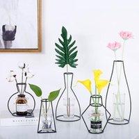 Nordic Bitkiler Vazolar Retro Demir Çizgi Çiçek Vazo Raf Bahçe Metal Bitki Kurutulmuş Çiçekler Tutucu Modern Ev Dekorasyon Aksesuarları
