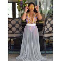 Stil Kadınlar Bikini Set Kapak Up Mayo Sheer Beach Maxi Wrap Etek Sarong Pareo Sundress Beachwear Brezilyalı Biquini Kadınlar
