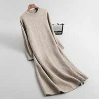 Günlük Elbiseler 2021 Örme Sonbahar Kadın Kazak Elbise Gevşek Stil O-Boyun Uzun Kollu Kazaklar Çekin Femme