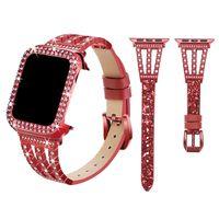 Diamonds Case Glitter Strap For Apple Watch Series 6 5 4 SE Luxury Bling Women Watchband iwatch 44mm 42mm 40mm 38mm Smart Accessories