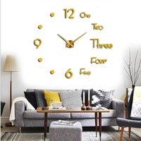 Horloge murale de bricolage 3D de bricolage de bricolage moderne Grandes horloges de quartz décoratifs Mouvement silencieux décor du salon noir doré