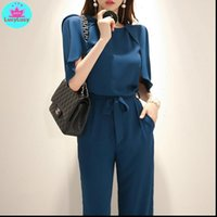 summer OL professional temperament Womens Romper fashion cape sleeves bandwidth loose trousers L green chiffon jumpsuit