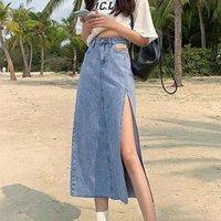 Hem único fenda zíper uma linha feminina saia de desmina de verão grande streetwear saias casuais com estilo jovem cintura