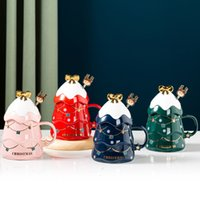 New Gift Ceramic Mug Creative Christmas Tree Mug With Lid Spoon Household Milk Coffee Cup Gift Box Set