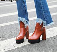DorataSia 34 43 Nouvelle boucle de la ceinture de mode Dames Haute Talons Bottes de plateforme Femmes Zip Party Office Bottines Chaussures Chaussures Femme 2020 L81i #