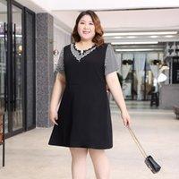 Big size fat sister mm dress women's summer Korean version loose and thin cover belly short sleeve medium length A-line skirt