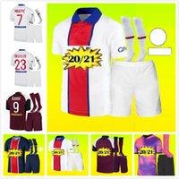 2021 Maillots De Foot Mbappe 4º Futebol Jerseys Kit 20/21 Icardi Cavani Verratti Camisa de Futebol Hommes Enfants Homens + Kids Uniform Set Socks.