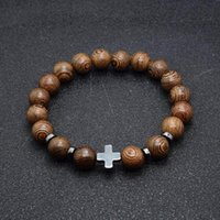 Link, Chain Beads Bracelets Mens Black Natural Stone Cross On Hand Stainless Steel Simple Green Bracelet Male Accessories
