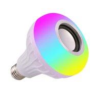 LED الموسيقى ضوء المصابيح E27 لمبة بلوتوث RGB تغيير لون مصباح مدمج في مكبر الصوت مع جهاز التحكم عن بعد Crestech