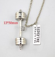 Product Fitness Weightlifting Jewelry 10pcs A Lot Big Dumbbell Barbell With Redefine Beautiful Gym Sports Necklace Pendant Necklaces