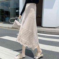 220 가을 겨울 한국어 도착 간단한 높은 허리 얇은 탄성 패션 중공 레이스 여성 A 라인 긴 스커트 무료 210527