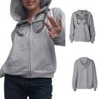 패션 대형 나비 그래픽 라인 석 지퍼 까마귀 Streetwear 그레이 롱 코트 가을 여성의 후드 스웨터