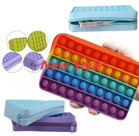 Party Favor Silicone Wallet Bags Push Its Bubble Fidget Toy Pencil Case Simpl Dimmer Antistress Soft Press Pops Figet Toys Bag