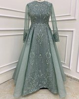 2021 Plus Size Arabic Aso Ebi Muslim Lace Beaded Prom Dresses A-line Long Sleeves Vintage Evening Formal Party Second Reception Gowns Dress ZJ044
