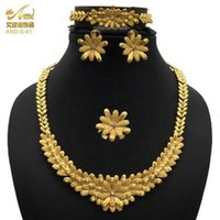 ANIID Jewelery Set Dubai Necklace For Womans Gold Jewelry Wedding Rings Indian Bridal Earrings Bracelet 24k Plated Polynesian H1022