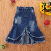 2-7 Years Girls Jean Hole Midi Skirt With Tassels Middle Waist Irregular Hem Ripped Denim Skirts For Girls Blue Casual Skirts