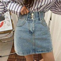 Mozuleva 2021 Casual High Taille Frauen Denim Rock Singke-Breasted Taschen Weibliche Jeans Röcke Frühling Sommer Damen Mini