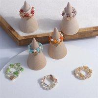 Korea 3Pcs Set Elegant Love Heart Handmade Beaded Ring For Women Girls Acrylic Pearl Rice Beads Finger Ring Party Jewelry