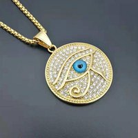Pendant Necklaces Hip Hop Rock Full Rhinestone Bling Iced Out Gold Color Stainless Steel Eye Of Horus Necklace For Men Rapper Jewelry