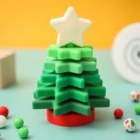 Halloween Christmas toys 1Set Silicone Build tree Soft block Educative Montessori Stacks Bite ring Xmas Poison for baby 0915