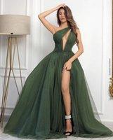Dark Green Pal Robes 2021 avec une épaule Toux-porte-sertie Décolleté Haute Split Soirée Robe de soirée Pareant Robes De Pareant Occasion Anniversaire Dubaï