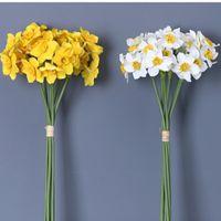6шт / расслоение daffodil орхидеи белый свадебный свадебный букет шаблон diy scrapbook flores искусственный дом декор декоративные цветы венки
