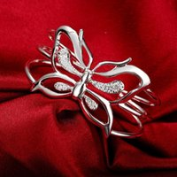 Bangle 925 Sterling Silver Zircon Big Butterfly Wide Bangles Bracelets For Women Adjustable Jewelry Fashion Wedding Party Gifts