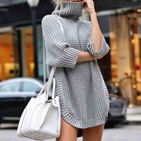 Supperky Swater Женщины осень зима женские леди пуловерная длинная одежда плюс размер теплый нерегулярно вязаная уличная женская