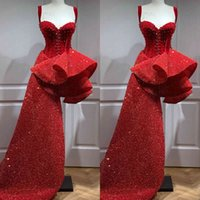 2020 Arabic Red Sparkly Prom Dresses Spaghetti Beaded Sequined Evening Dress Stylish Ruffle Skirt Formal Party Reception Gowns
